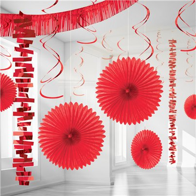 Rood Papier & Folie Kamer Decoratie Set