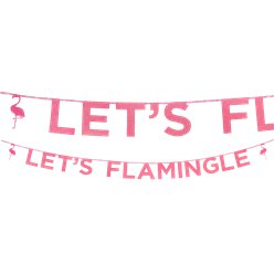 'Let's Flamingle' Flamingo Roze Glitter Letter Banner - 3m