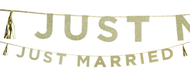 Just Married Gouden Glitter Letter Banner - 3m