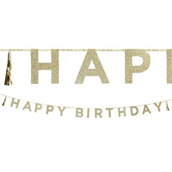 Happy Birthday Gouden Glitter Letter Banner - 3m