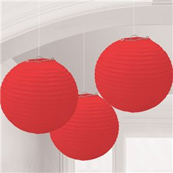 Rode Papieren Lampion Decoraties - 24 cm