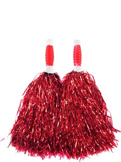 Rode Cheerleading Pompons - Standaard Tinsel