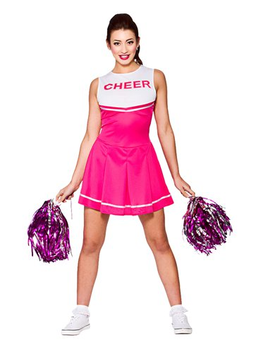 Roze High School Cheerleader - Volwassene Kostuum front