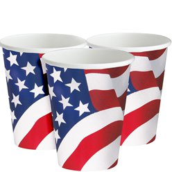 USA Amerikaanse Vlag Papieren Bekers - 255 ml