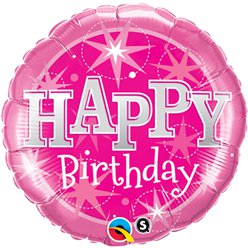 Happy Birthday Roze Glitter Ballon - 46 cm Folie