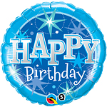 Happy Birthday Blauwe Glitter Ballon - 46 cm Folie