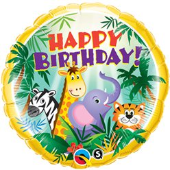 Happy Birthday Jungle Vrienden Ballon - 46 cm Folie