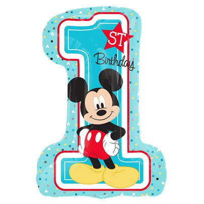 Mickey Mouse 1e Verjaardag SuperShape Ballon - Folie 71 cm