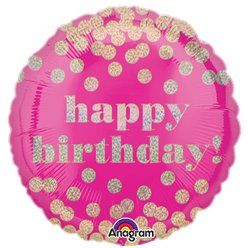 Happy Birthday Roze Stippen Holografische Ballon - 46 cm Folie
