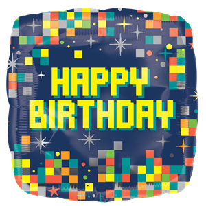 Happy Birthday Pixels Ballon - 46 cm Folie
