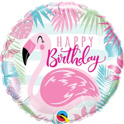 Happy Birthday Roze Flamingo Folie Ballon - 46 cm Ballon