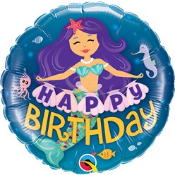 'Happy Birthday' Zeemeermin Ballon - 46 cm Folie