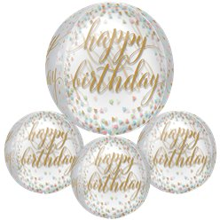 Confetti Leuke 'Happy Birthday' Orbz Ballon - 41 cm Folie