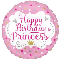 Happy Birthday Prinses Ballon - 46 cm Folie