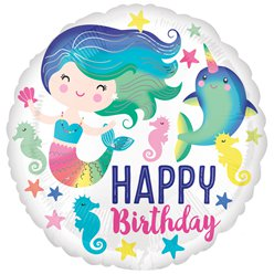 Zeemeermin & Narwhal Happy Birthday Ballon - 46 cm Folie