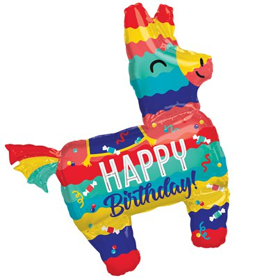 Piñata Happy Birthday Supershape Ballon - 84 cm Folie