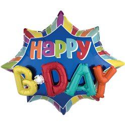 Happy Birthday 3D Supershape Ballon - 89 cm Folie