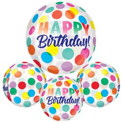 Happy Birthday Grote Stippen Orbz Ballon - 41 cm Folie