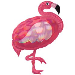 Roze Flamingo Iriserende Supershape Ballon - 84 cm Folie