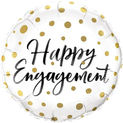 Happy Engagement Gouden Stippen Ballon - 46 cm Folie