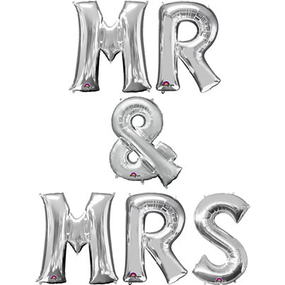 'Mr & Mrs' Zilveren Ballon Set - 41 cm