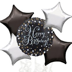 Happy Birthday Zilveren Glitter Ballonboeket - Assortiment Folie