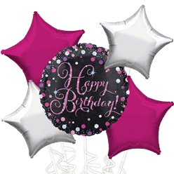 Happy Birthday Roze Glitter Ballonboeket - Assortiment Folie