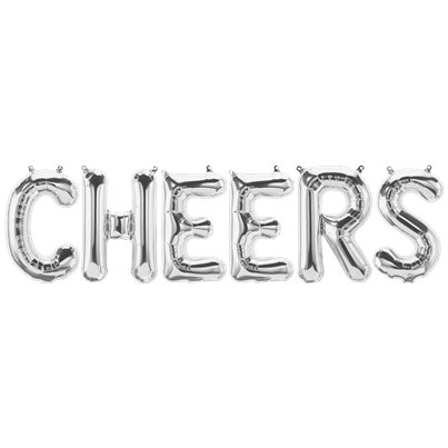 'CHEERS' Zilveren Folie Ballon Kit - 41 cm
