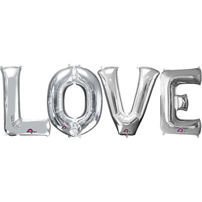 LOVE Zilveren Folie Ballon Kit - 41 cm