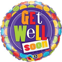 Get Well Patroon Stippen Design Ballon - 46 cm Folie