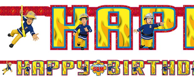 Brandweerman Sam Happy Birthday Letter Banner