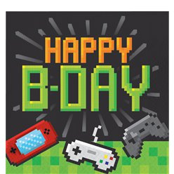 Game On 'Happy Birthday' Papieren Servetten - 32 cm - Gamer Feestartikelen