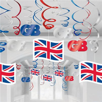 Union Jack Hangende Swirls - Feestdecoraties