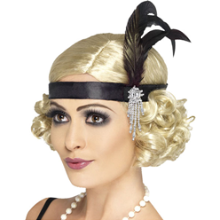 Charleston Zwarte Flapper Haarband