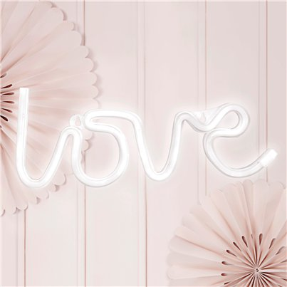Wit LOVE Neon LED-bord - 34.5 cm