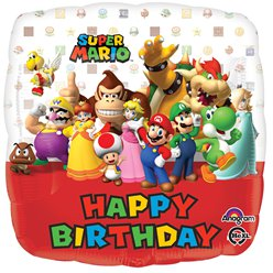 Super Mario 'Happy Birthday' Ballon - 46 cm Folie