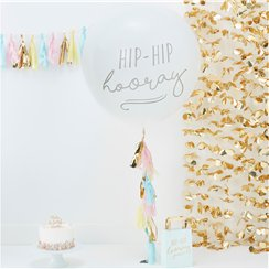 "Pick & Mix Pastel - Reuze ""Hip Hip Hooray"" Ballon Set - 91 cm Latex"