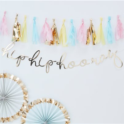 "Pick & Mix Pastel - Gouden ""Hip Hip Hooray"" Banner - 1.5m"