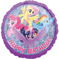 My Little Pony Holografische Happy Birthday Ballon - 46 cm Folie