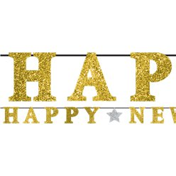 'Happy New Year' Gouden Glitter Letter Banner - 3.6m