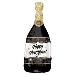 Happy New Year! Champagne Fles Ballon - 86 cm Folie