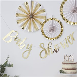 Oh Baby Gouden Folie 'Baby Shower' Letter Banner - 1.5m