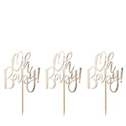 'Oh Baby'! Gouden Folie Cupcake Toppers - 13.5 cm
