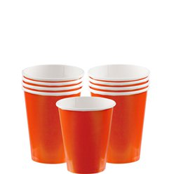 Oranje Bekers - 266 ml Papieren Feestbekers