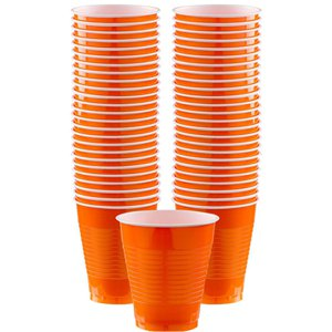 Oranje Bekers - 473 ml Plastic Feestbekers