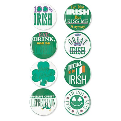 St Patrick's Day Buttons - 4 cm