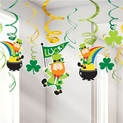 Hanging Swirls - 25cm St Patrick's Day Decorations