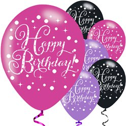Happy Birthday Roze Mix Glitter Ballonnen - 28 cm Latex