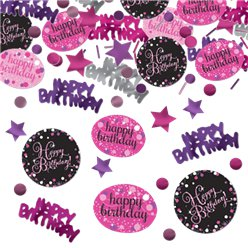 Roze Glitterfeest Happy Birthday Confetti