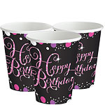 Roze Feest Happy Birthday Bekers - 266 ml Papieren Feestbekers